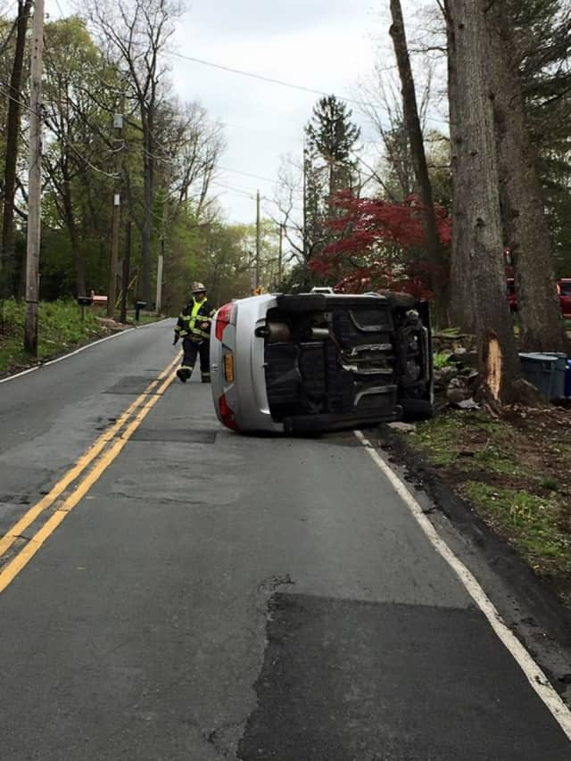 The driver had to be extricated from a car that crashed into a tree Friday on Spook Rock Road in Suffern.