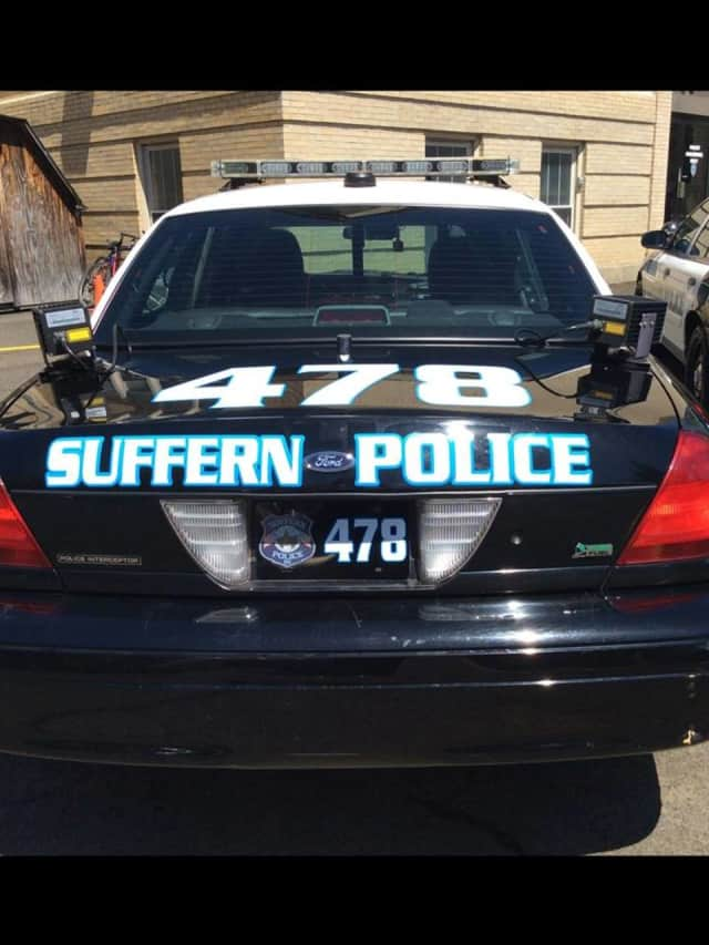 A Suffern police car allegedly was hit by a drunken driver on Wednesday night.