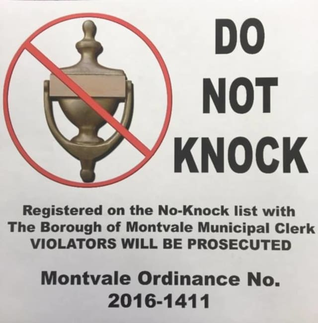 """Montvale is a """"No-Knock"""" borough."""