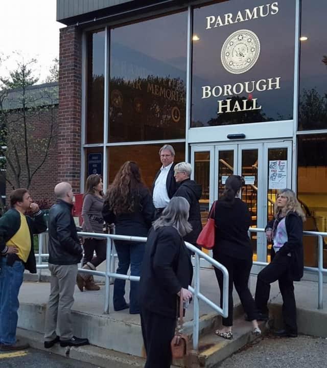 Emerson Mayor Lou Lamatina with animal rights advocates outside Paramus Borough Hall.