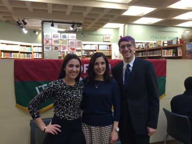 Pelham Memorial High School students Joseph Catalano, right, and Alexa Bastone, left, were honored recently for scholastic excellence in Italian.