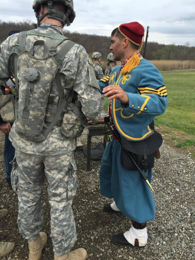 Rob Buccheri in Civil War era military garb with West Point cadets.