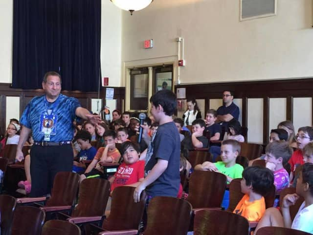 Pelham Schools Superintendent Richard Limato addresses students.