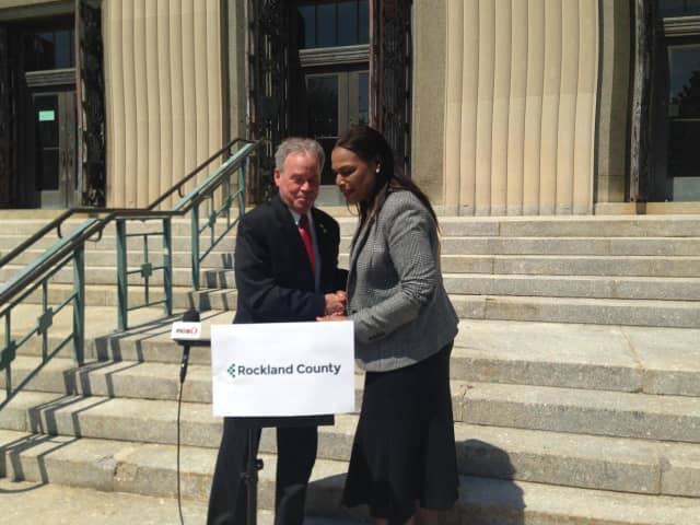 County Executive Ed Day, shown in New City in May with Penny Jennings, Rockland's acting human rights commissioner, this week announced that the county is re-structuring its Office of Community Development.