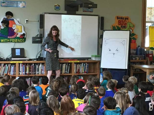 "Kate Klise, a children's author, spoke to students in Pelham about the ""messy process"" of writing."