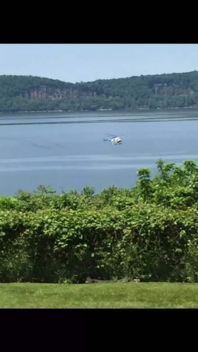 Police helicopter searching the area of Croton Point Park earlier this week.