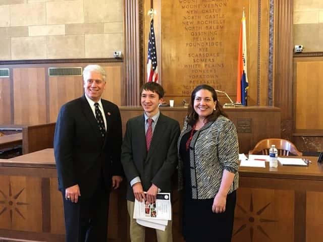 Dalton Waldock (center) was recognized by the Westchester County Board of Legislators.