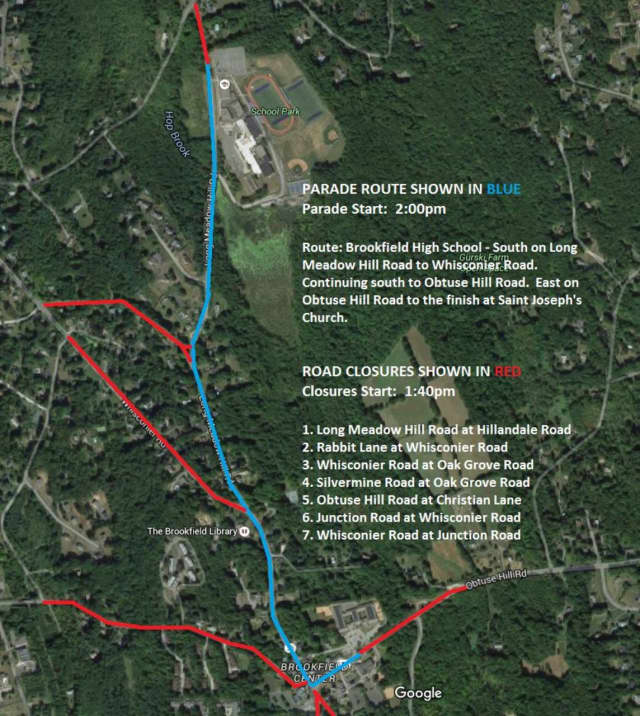 The parade route for the Memorial Day parade on Sunday in Brookfield.