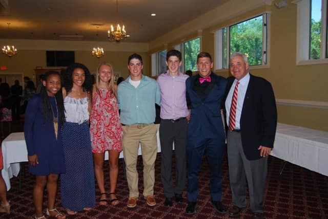 From left: Gabby Cajou, Sydney March, Taylor Aylmer, Chris Dodrill, T.J. Morales, Matthew Zugibe with Coach Joe Casarella