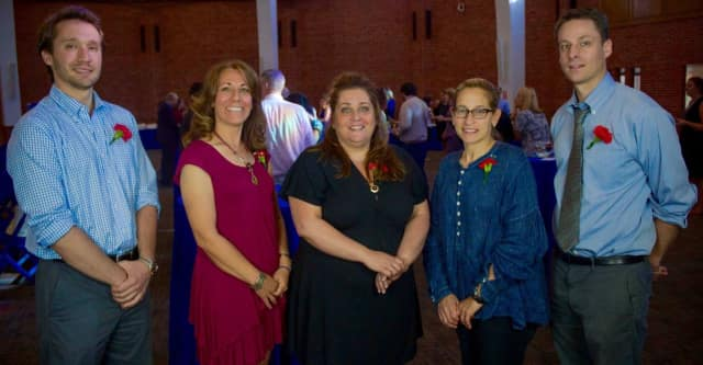 The Wipro Teaching Fellows are, from left, Ronald Schoenherr (New Rochelle High School), Ann Marie Manganiello (Trinity School), Diane Delgado (Trinity), Hillary Zinman (NRHS), and Scott Misner (Isaac E. Young Middle School).