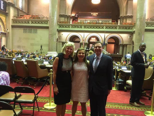 There Ought to be a Law contest winner Pelham Middle School student Sarah Jane O'Connor introduced her bill for state-mandated hearing aid insurance coverage at the New York State Assembly.