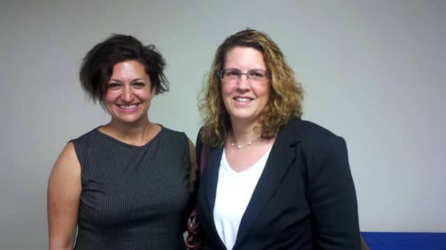 Dutchess Outreach Lunch Box Manager Margot Schulmanand Central Hudson's Counsel for Litigation and Claims Andrea Balga