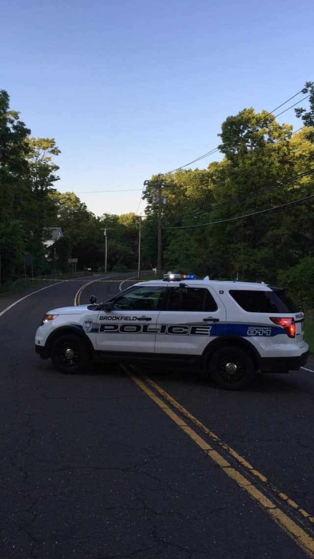 Route 133/Obtuse Hill Road is closed in Brookfield on Monday evening after a crash.