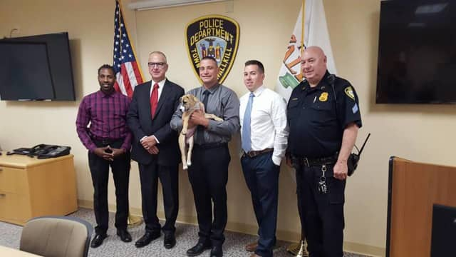 Officers of the Wallkill Police Department, from left to right, Sgt. Mclymore, Chief Hertman, ( holding Izzie) Det. DiNapoli, Det. Hults, and Sgt. Weissman, helped located Izzie.