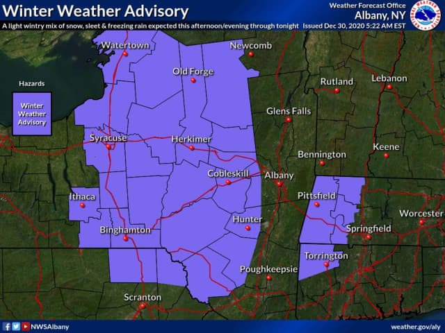 A look at areas in the region, mainly north of I-84 in New York and Connecticut, where a Winter Weather Advisory is in effect from 7 a.m. Wednesday, Dec. 30 until 7 a.m. Thursday, Dec. 31.