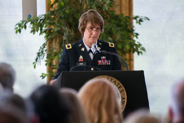 Brig. Gen. Cindy Jebb accepts her new position as the dean of academics at West Point. She is the first woman named to the post.