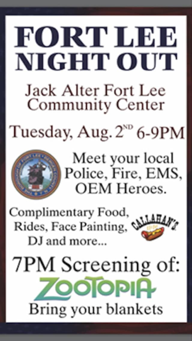 The Fort Lee Night Out is scheduled for Aug. 2.