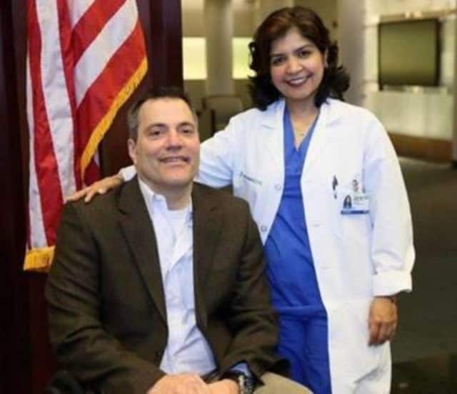Ron Gold and Hackensack University Medical Center Dr. Saraswati Dayal.