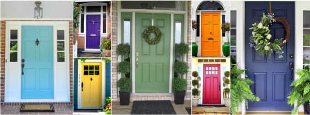Colorful summer doors offer great curb appeal.