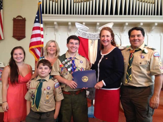 Michael Pondiccio recently earned his Eagle Scout award -- and congratulations from his local congresswoman.