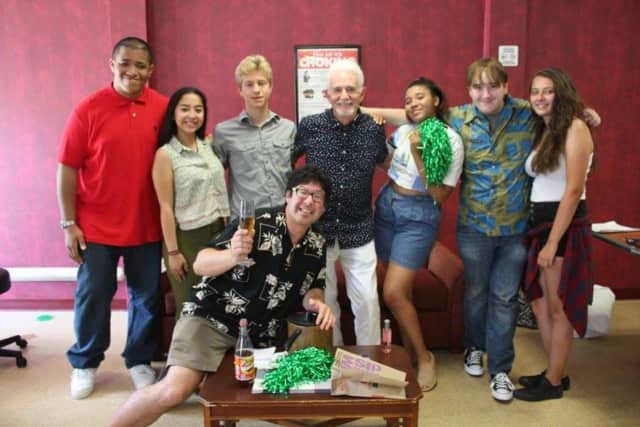 """Richard Kline, center, who played Larry on the '70s sitcom """"Three's Company,"""" joined Peekskill High School Drama Club members in a recent live performance of an episode of the show at Emerald Peek Rehabilitation and Nursing Center in Peekskill."""