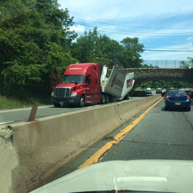 The tractor-trailer slammed into the Mamaroneck Road overpass between exists 21 and 22 on the Hutchinson River Parkway.