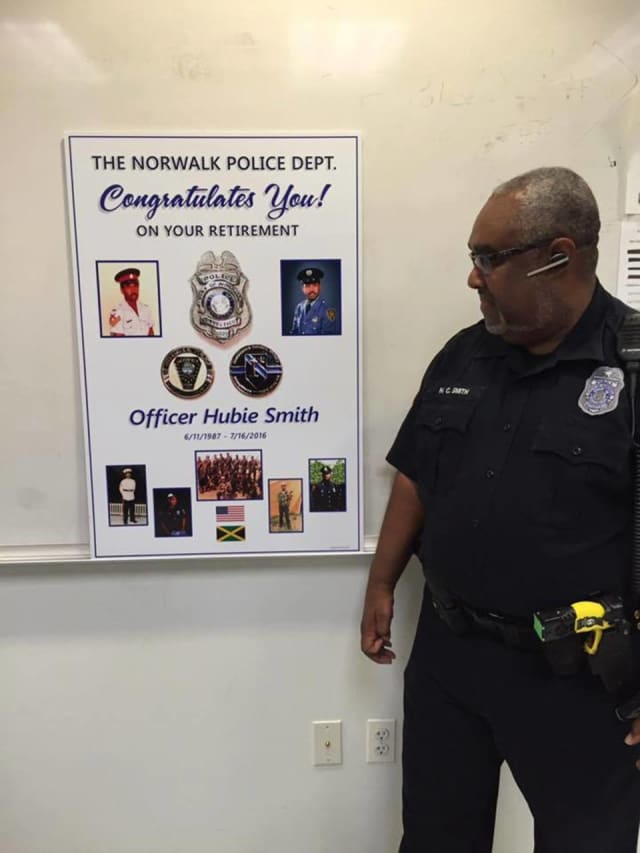 Officer Hubert Smith being honored for his final tour.