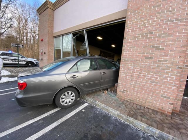 A car plowed into Planet Fitness in Airmont over the weekend while patrons were inside.