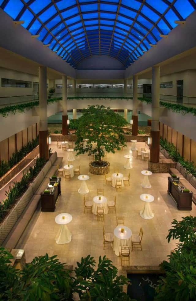 The atrium at the Teaneck Marriott at Glenpointe Hotel.