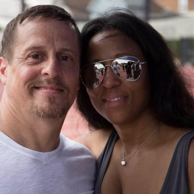 Kerry James Rivera, left, with wife Rena Mason Rivera.
