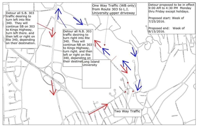 A detour on Route 303 North near Route 340 is in effect until Sept. 1.