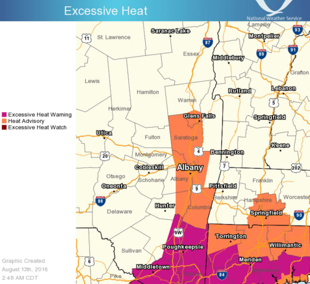 The area in purple is under the Excessive Heat Warning through 7 p.m. Sunday.