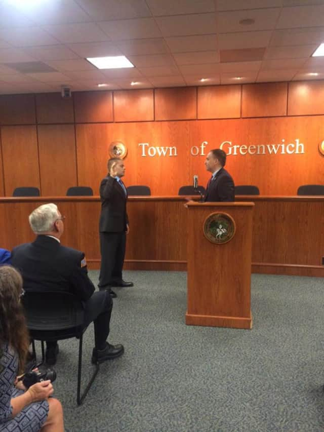 Firefighter Will Strain has joined the Greenwich Fire Department. He took his oath on Monday morning at Town Hall.