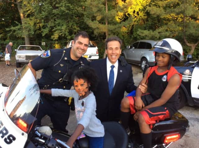 Yonkers Police Commissioner Charles Gardner takes part in the National Night Out events.