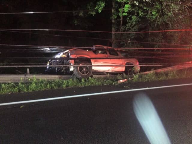 One person was injured during an accident on Route 35 that left the vehicle tangled in power lines.