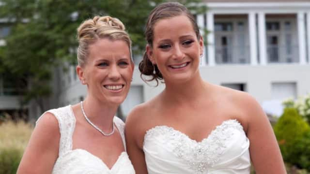 Kate Drumgoole of Bogota, left, and Jaclyn Vanore on their wedding day.