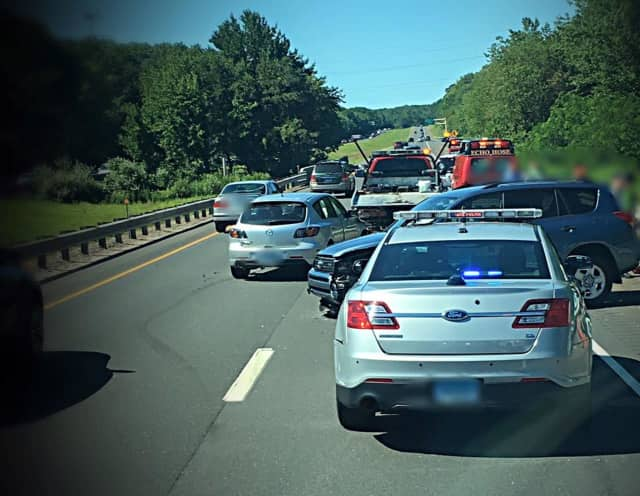 A crash occurs Sunday morning in Shelton on Route 8 near Exit 12.