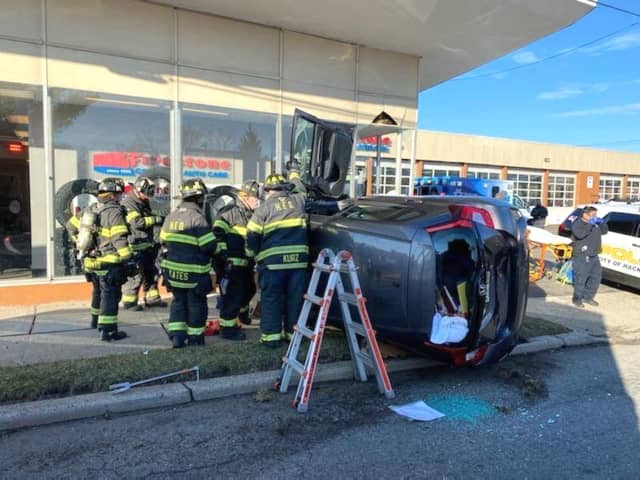 Firefighters at the scene of the crash in Hackensack.