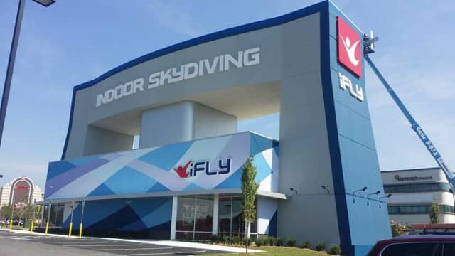 iFLY Paramus will open April 13. It'll look a little something like this: the Baltimore location.