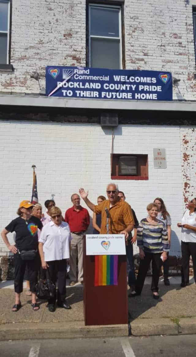Members of the Rockland County Pride Center stand outside 28 S. Franklin St. in Nyack on Saturday, Sept. 10.