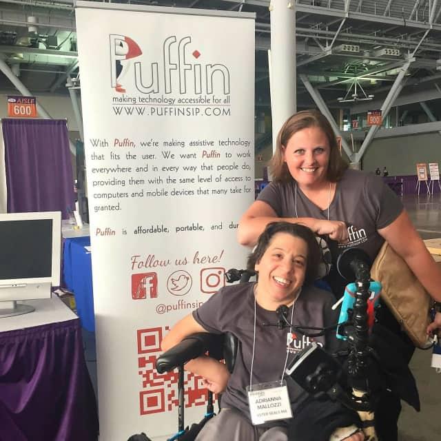 Adriana Mallozzi, left, with Shana Penna, right, of Boston-based Puffin.