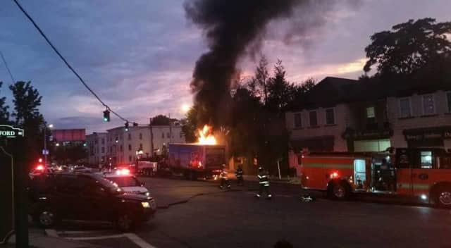 Firefighters responded to a box truck fire in Tarrytown Monday night