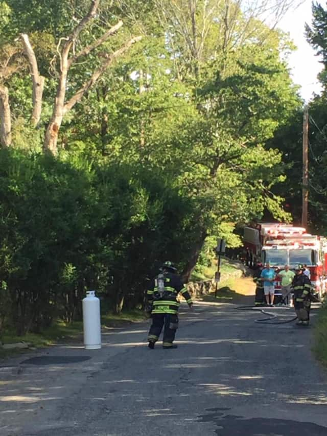 A propane tank leaked on Teatown Road on Friday.