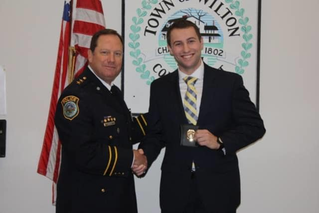Sean Baranowski is the newest officer on the Wilton police force.