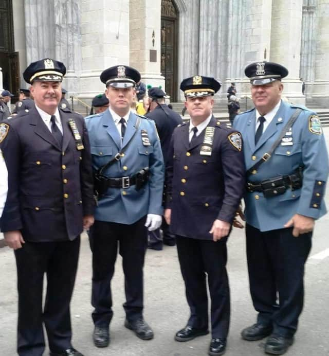 Stony Point Police joined New York Police at St Patrick's Cathedral.