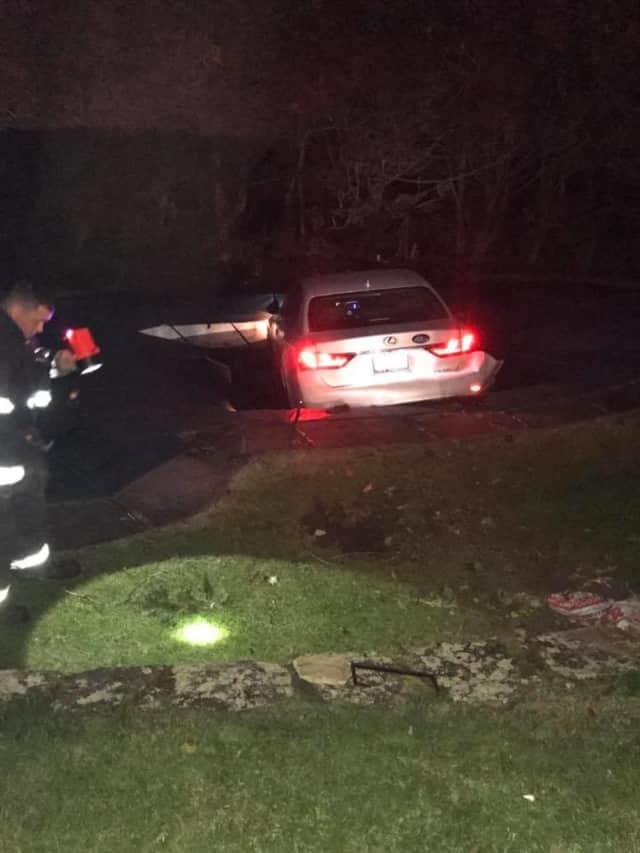 A car plunged into a swimming pool in Croton.