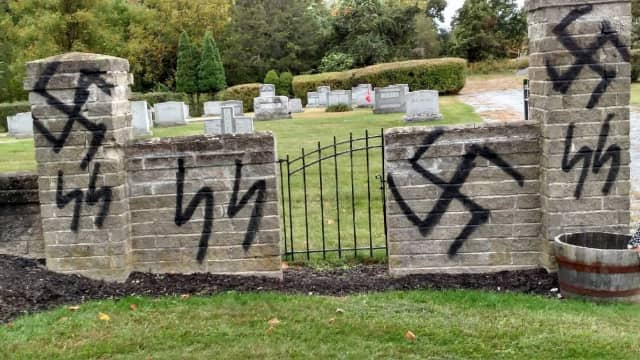 Graffitti from  the Beth Shalom Cemetery in Warwick.