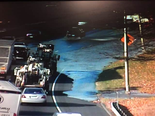 A water main break is flooding I-95 southbound between Exits 10 and 9 in Darien on Thursday morning.