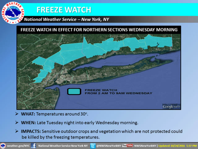 A look at counties covered by the Freeze Watch on Wednesday.