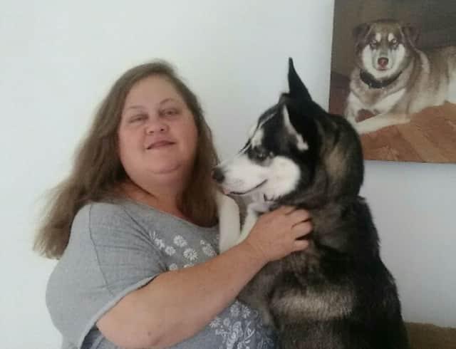 Julie Ogden of Westwood and her pup. Taz.